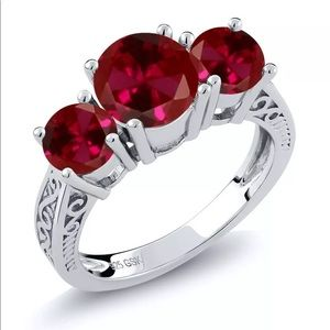 🌹 Red Sapphire 2.75ct. 3 stone Ring in .925